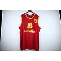 007 실제 그림 Fernando Martin # 10 Team Spain Espana Baloncesto Red Retro 농구 유니폼 남성 스티치 사용자 정의 모든 번호 이름 유니폼