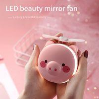 2 in 1 Mini El Hayranları Taşınabilir LED Işık Güzellik Ayna Karikatür İşlevli USB Şarj Edilebilir Soğutma Açık Küçük Fan