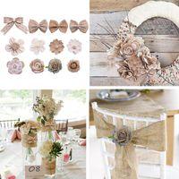 Party Decoration 5pcs Jute Flower Bow-knot Tie DIY Artificial Of Hessian Burlap Wedding Easter Wreath Decor Accessories