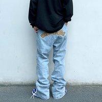 Tobillo Lace Up Letra Bordado Jeans Lavado Retro Retro Haciendo Pantalones de mezclilla de gran tamaño Hip Hop Pantalones Casuales
