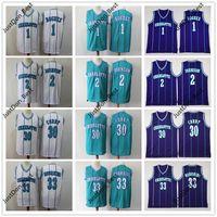 Erkekler Gençlik Vintage Jersey 1 Muggsy Bogues 2 Larry Johnson 30 Dell Köri 33 Alonzo Yas 1992-93 Mitchell Ness Basketbol Jersey Gömlek