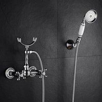 バスルームのシャワーの蛇口デュアルハンドルの壁に取り付けられた浴槽セットクロームメッキ冷水ミキサー青と白の磁器セット