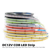 DC12V 384 LEDS COB LED Strip 630leds RGB Luces flexibles rojas / Greeen / Azul / Hielo Azul / Rosa / Cinta de oro 5m / Lote