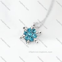 The News Arrival Fashion Blue Crystal Pendant Necklace For Women Elegant Noble Ladies Exquisite Snowflake Jewelry Banquet x24 commute
