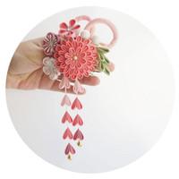 Handmade Pink Chrysanthemum Cloth Art Kimono Headdress Hanfu Head Flower Tassel Accessories Other Event & Party Supplies