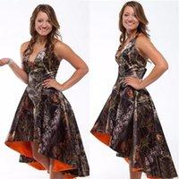 2021 High Low Tarn Camo Brautjungfernkleider Eine Zeile V-ausschnitt Prom Kleid formale Abend Party Kleider Fiesta Hochzeit Gast Dame Wear benutzerdefinierte Größe