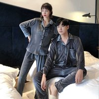 Velvet Sleepwear Winter Warm Pajama Sets Couple Christmas Pyjamas Home Clothes Suit Pijama Women Men Loungewear Plus Size Pjs 211014