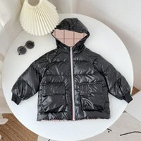 Designer Girls boys Down Coat kids boy Plaid Padded Double sided Jackets Coats children Keep Warm Hooded Zipper Outerwear Baby Girl clothes 70-120cm