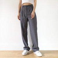 Брюки Harajuku костюмы высокой талии женские Capri прямые моды свободные Y2K Pantalon женский TRAF одежда тенденции одежды