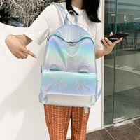 Reflective Fashion Backpack Women School Bag For Teenage Girls College Campus Style Trendy Stylish Escolar Book Ladies