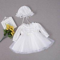 가을 새로운 아기 소녀 Christening 가운 첫 생일 침례 긴 소매 Pom 레이스 공주 드레스 + 모자 E213