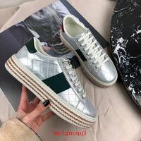 En son 2021 platform sandalet kadın tasarımcı ayakkabı, moda geniş tabanlı düz tuval ayakkabının, yaz açık nedensel ip ayak bileği kayışı sandalet kutusu ile 35-40