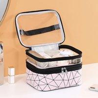 حقيبة مستحضرات التجميل المرأة طبقة مزدوجة المحمولة شفافة للماء السفر مريحة المنظم غسل العناية بالبشرة منتجات تخزين مربع حقيبة