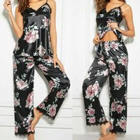 Vestido de dos piezas Seda Seda Satin Pijamas Set Pijama Sleepwear Nightwear Loungewear Traje Casa Lencería 2pcs Verano