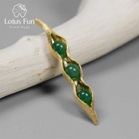Lotus Fun Real 925 Sterling Sterling Silver Fatti a mano Gioielli Fine Green Green Stones Creative Pise Pods Design Brooches per le donne 210628