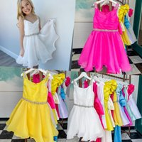 Yellow Pageant Dress for Infant Toddlers Teens 2021 Beading Straps ritzee roise Organza Knee-Length Short Little Miss Girl Kid Formal Party Gown Zipper Fuchsia White