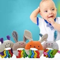 Recém-nascido aperto mão aperto brinquedos bebê cartoon coelho pelúcia chocalho anel sino macio móvel infantil chocalho