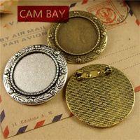 20pcs lot Fit 25MM Vintage Round Brooch Pin Settings Cabochon Cameo Base Tray Bezel Blank DIY BroochesJewelry Accessory