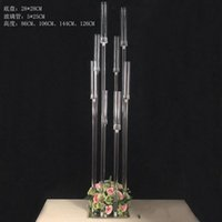 Party Decoration Flowers Vase 8 Heads Candle Holders Backdrops Acrylic Tall Candelabra Candlestick Wedding Table Centerpiece Flower Stand