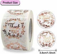 """500pc / Roll Gracias Pegatinas Etiquetas de adhesivos de sellos de sobres de oro rosa Etiquetas adhesivas de etiqueta 1.5 """"para regalos de embalaje"""