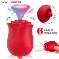 XVLEPS Silicona Rose Clitoral Vibrador Vibrador Juguetes Sexuales Para Mujer Sucking Bomba Mujeres Lengua Lick Stimulator 210720