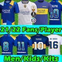 Boca Juniors جيرسي soccer jerseys Fans Player version CARLITOS MARADONA TEVEZ DE ROSSI 2021 كرة القدم جيرسيالرجال ملابس الأطفالكرة القدم جيرسي