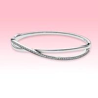 Стерлинговое серебро 925 свадьбы с свадьбой свадьба свадьба CZ с бриллиантовыми женскими украшениями для Pandora Entwined браслет браслета из оригинальной коробки