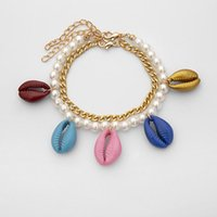 Charm Bracelets Bohemia Vintage Gold Color Shell Rope Chain Bracelet Women Beach Sea Anklet Jewelry Party Gift