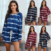 Women's Tracksuits 2021 Autumn And Winter European American Pajamas Tie-Dye T-shirt Shorts Set Two Piece Outfits For Women
