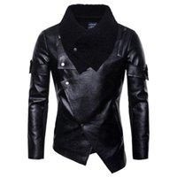Человек PU панк кожаные куртки одежда мода тенденция с длинным рукавом кардиган тонкий мотоцикл искусственные кожаные пальто мужской весна новая повседневная верхняя одежда