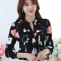 Primavera autunno autunno camicia a maniche lunghe camicia da donna camicetta stile coreano moda stampa sottile casual top signore elegante lavoro camicette da donna camicie