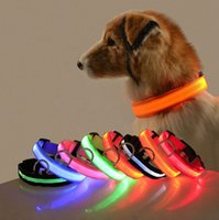 Nylon LED Dog Collars Night Safety Light Flashing Glow in the Dark Small Pet Leash Puppy Collar Shinning Safe designer dogs necklaces