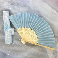 Personalized folding silk hand fans with laser cut boxes party favors bridal wedding gift baby shower souvenir fan free customized text