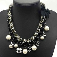 Charms Choker Necklace Women Camellia Letter 5 ABS Pearl Jewelry Classic Statement Necklaces Big CNANIYA Brand Fashion Jewellery