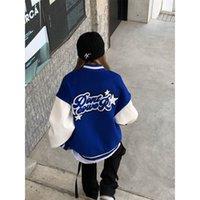 Women Jackets 2021 retro hip-hop college jacket men and women furry star letter embroidery color block Harajuku school team jacket female