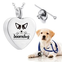 Cremation jewelry urn for pet ashes pendant keepsake dog paw print pendant necklace to commemorate the beloved pet-With velvet bag