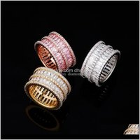 Band Jewelry Drop Delivery 2021 Korea Style Double Rows Bling Diamond Ring Fashion Men And Women Rose Gold Copper Zircon Rings Iwdlj