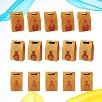 15pcs Kraft Paper Gift Bags Portable Storage Pouch Christmas Elements Pattern Hand Bag For Party Supplies (Elk, Santa,Bear Wrap