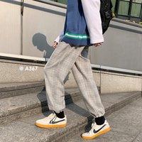Pantolon Gevşek İpli Rahat erkek Ekose Baskı Harem Joggers Sweatpants Streetwear Mavi / Gri Pantolon Boyutu M-2XL B844