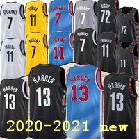 2020-2021 كيفن كيري 7 ديورانت رجل جيرسي 11 ايرفينغ 13 مدينة صلابة كرة السلة الفانيلة الأسود أبيض أزرق