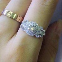 Vecalon Цветочное кольцо 925 Стерлинговое серебро Bijou Diamond Zircon CZ Объединение Свадебные кольца для Женщин Bridal Party Free Ювелирные Изделия
