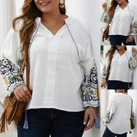 Women's Blouses & Shirts Office 2021 Blouse Tops Plus Size Womens Embroidery Bandage Long Sleeves Easy Female Vest Blusa#2025