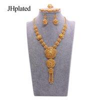 Africano Dubai 24k banhado a ouro cheia de jóias nupculos conjuntos de casamento jóias colar brincos anel pulseira conjunto para mulheres