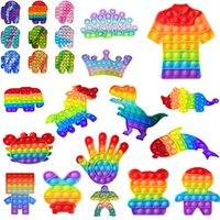 Dhl push fidget sensory brinquedos descompressor criança criança engraçado anti-estresse alívio bola arco-íris cor surpresa atacado
