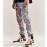 블루 오렌지 여러 가지 빛깔의 페인트 청바지 슬림 스키니 피트 스트레치 진 남자 streetwear