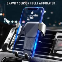 Automatic Locking Cell Phone Holder Gravity Universal Air Vent GPS Car Mount Stand Grille Buckle Type Compatible All for iPhone