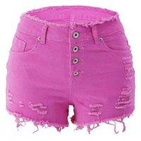 Weigou Summer Femmes Denim Shorts Denim Taille haute taille Solid Jeans Shorts Vintage Coton Pantalon court 210323