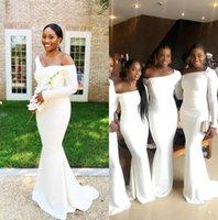 Дешевые африканские русалки платья подружки невесты длинные рукава с плечевой горничной чести