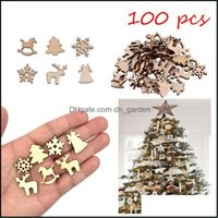 Christmas Festive Supplies Home & Gardenchristmas Decorations 100Pcs Lot Creative Pendant Ornaments Diy Wooden Crafts Xmas Tree Party Weddin