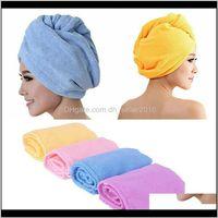 Shower Caps Bathroom Aessories Home & Garden Drop Delivery 2021 Large Womens Quick Super- Absorbent Dry Microfiber Hair Wrap Bath Towel Cap H